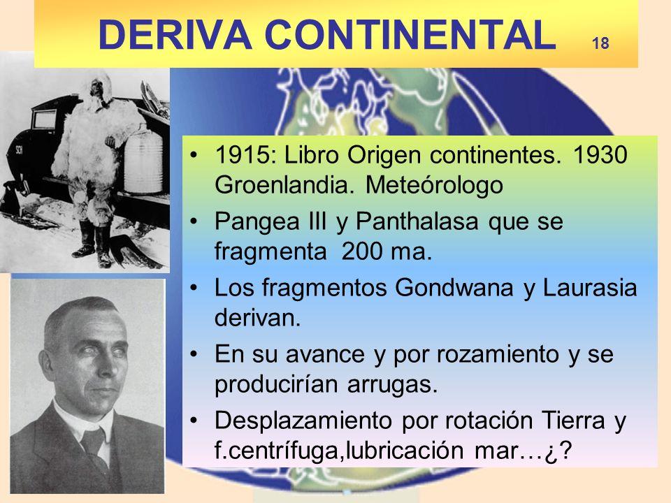 DERIVA CONTINENTAL 18 1915: Libro Origen continentes. 1930 Groenlandia. Meteórologo. Pangea III y Panthalasa que se fragmenta 200 ma.