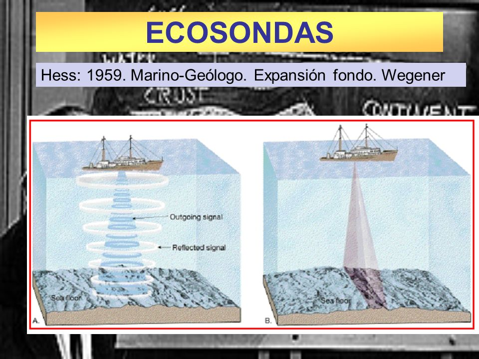 ECOSONDAS Hess: 1959. Marino-Geólogo. Expansión fondo. Wegener 1959