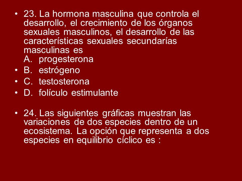 23. La hormona masculina que controla el desarrollo, el crecimiento de los órganos sexuales masculinos, el desarrollo de las características sexuales secundarías masculinas es A. progesterona