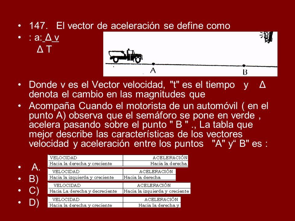 147. El vector de aceleración se define como
