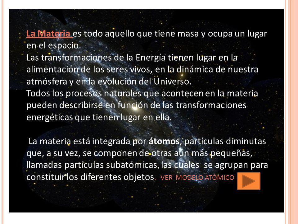 La Materia es todo aquello que tiene masa y ocupa un lugar en el espacio.