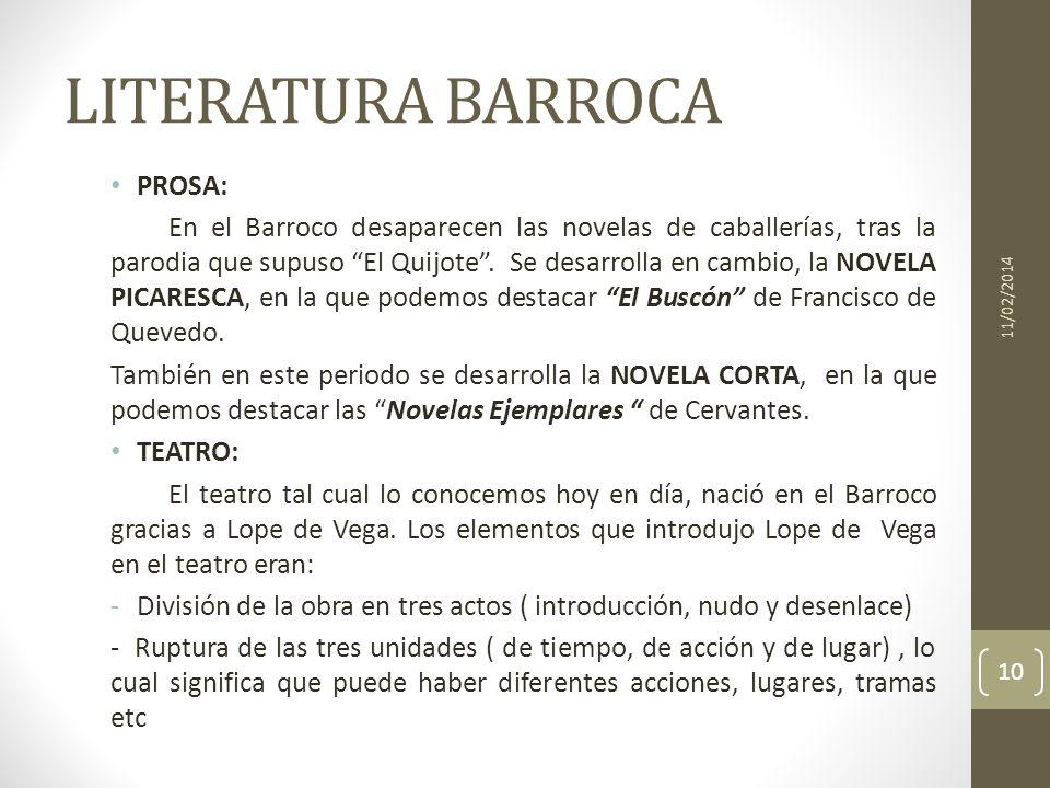 LITERATURA BARROCA PROSA: