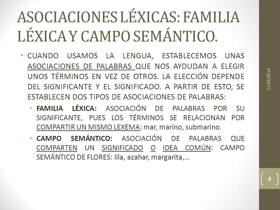 ASOCIACIONES LÉXICAS: FAMILIA LÉXICA Y CAMPO SEMÁNTICO.