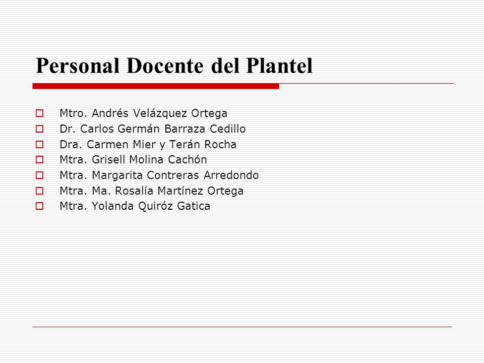 Personal Docente del Plantel