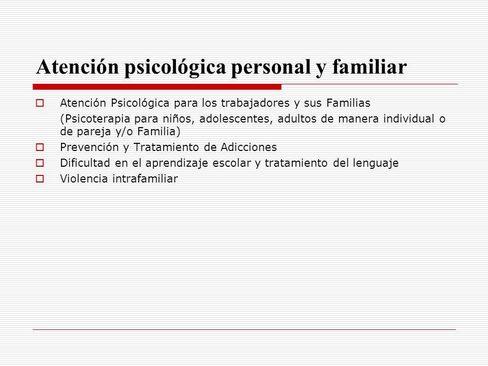 Atención psicológica personal y familiar