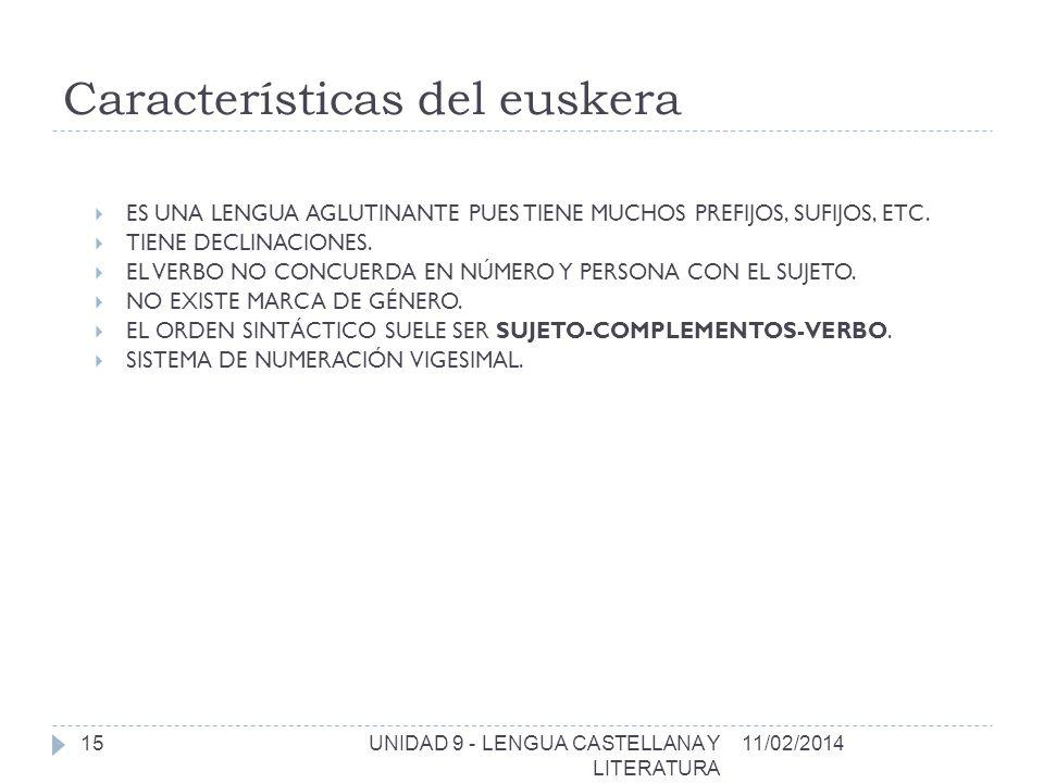 Características del euskera