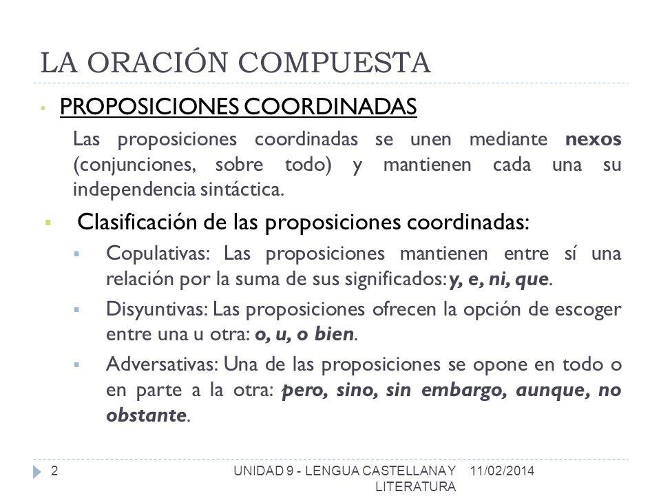 LA ORACIÓN COMPUESTA PROPOSICIONES COORDINADAS