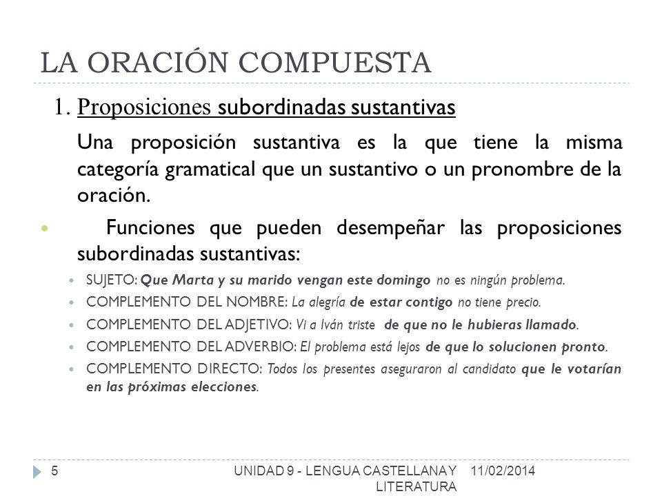LA ORACIÓN COMPUESTA 1. Proposiciones subordinadas sustantivas