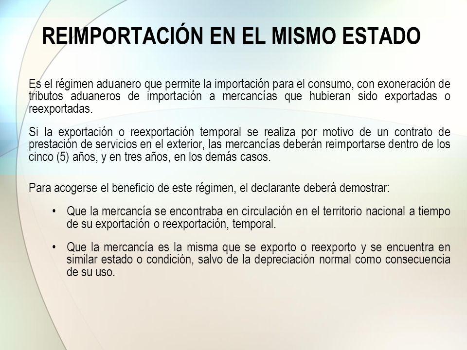 REIMPORTACIÓN EN EL MISMO ESTADO