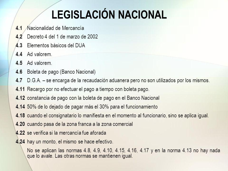 LEGISLACIÓN NACIONAL 4.1 Nacionalidad de Mercancía