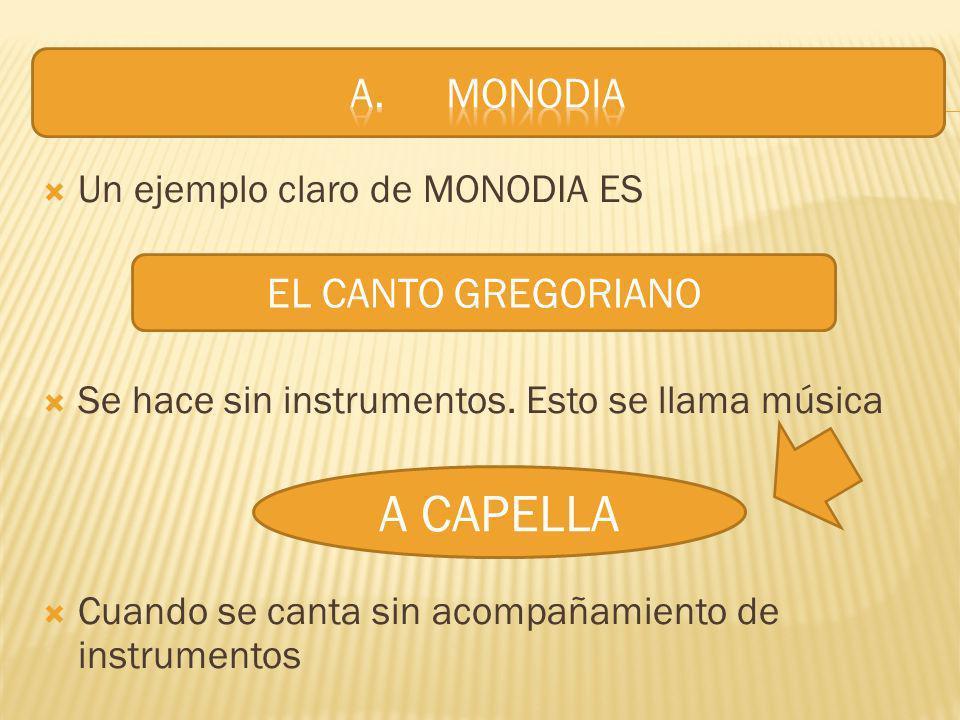 A CAPELLA A. MONODIA EL CANTO GREGORIANO