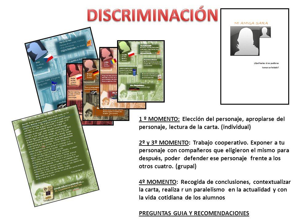 DISCRIMINACIÓN 1 º MOMENTO: Elección del personaje, apropiarse del personaje, lectura de la carta. (individual)