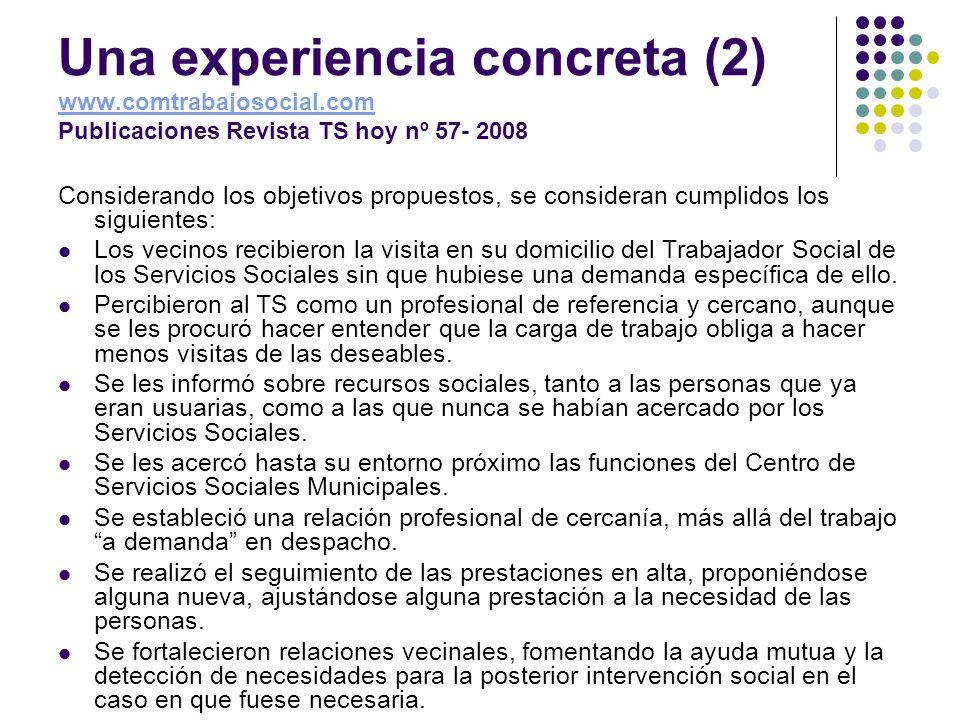 Una experiencia concreta (2) www. comtrabajosocial
