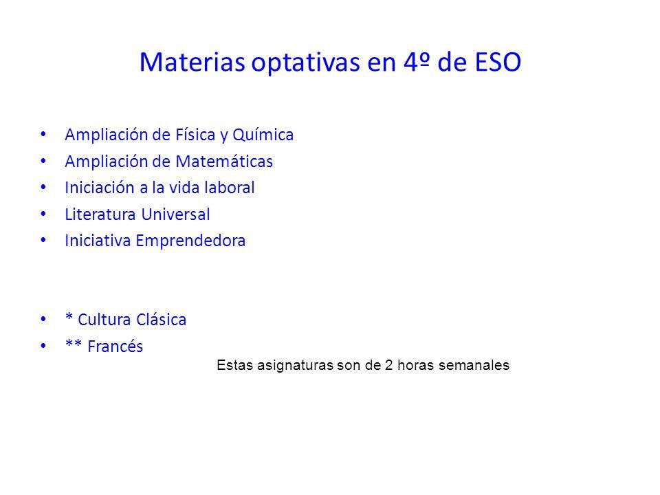 Materias optativas en 4º de ESO