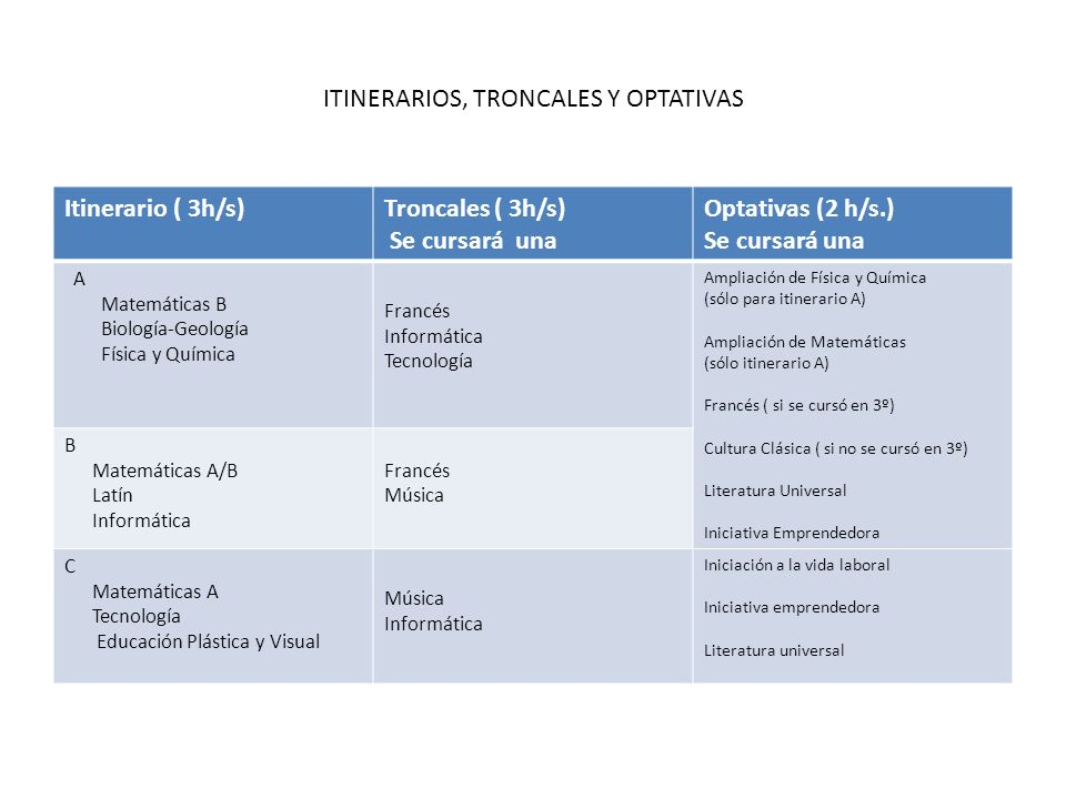 ITINERARIOS, TRONCALES Y OPTATIVAS