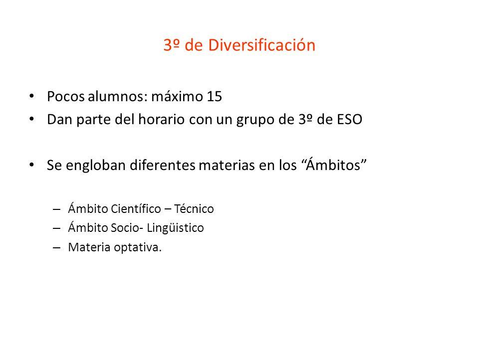 3º de Diversificación Pocos alumnos: máximo 15