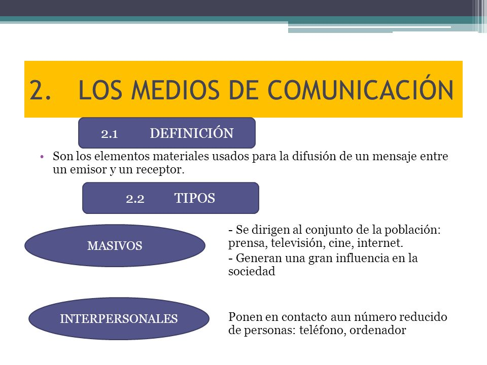 2. LOS MEDIOS DE COMUNICACIÓN