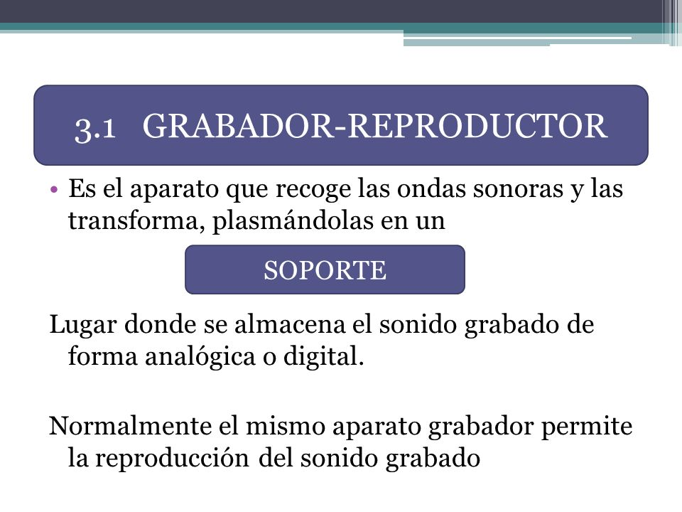 3.1 GRABADOR-REPRODUCTOR