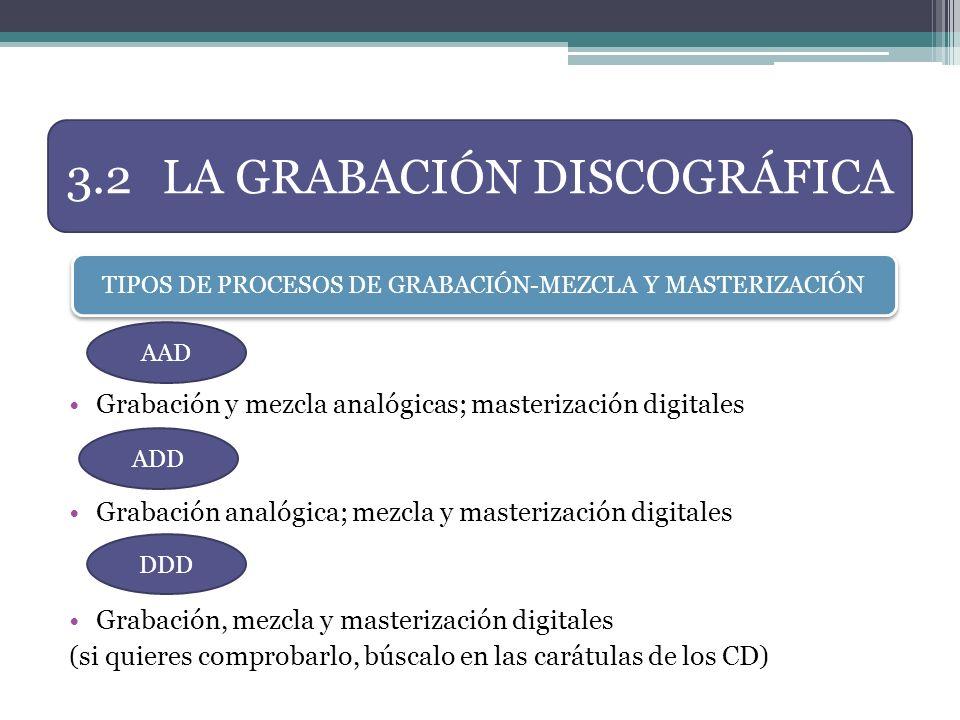 3.2 LA GRABACIÓN DISCOGRÁFICA