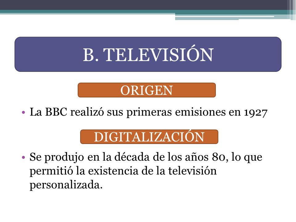 B. TELEVISIÓN ORIGEN DIGITALIZACIÓN