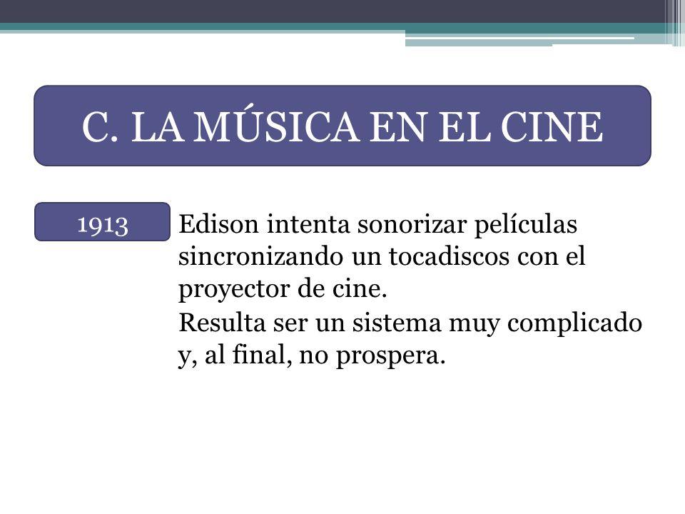 C. LA MÚSICA EN EL CINE Edison intenta sonorizar películas sincronizando un tocadiscos con el proyector de cine.