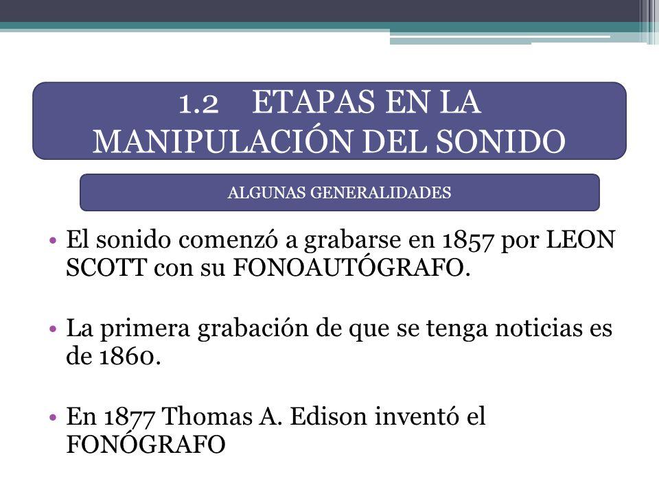 1.2 ETAPAS EN LA MANIPULACIÓN DEL SONIDO