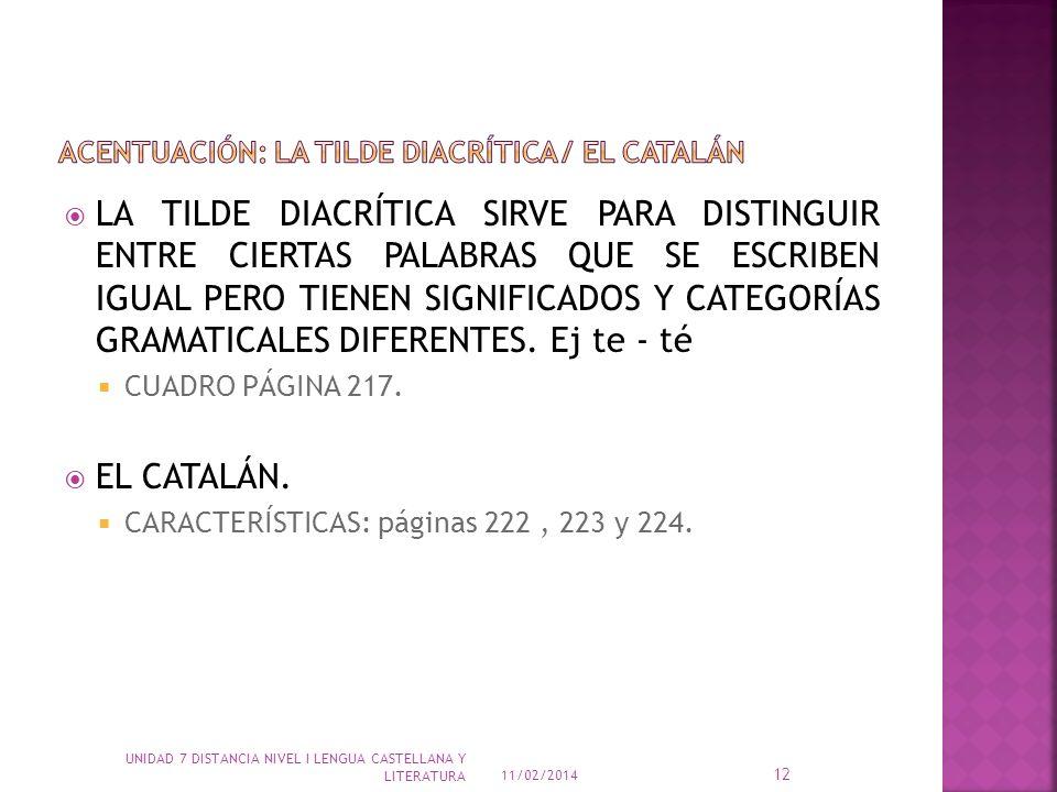 ACENTUACIÓN: LA TILDE DIACRÍTICA / EL CATALÁN