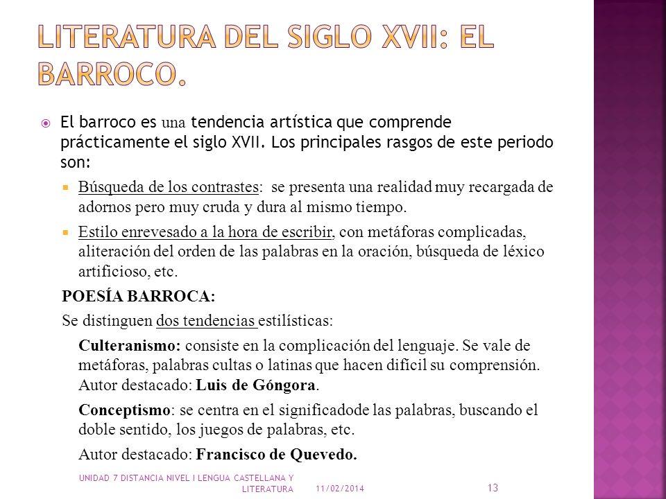 Literatura del siglo xvii: el barroco.