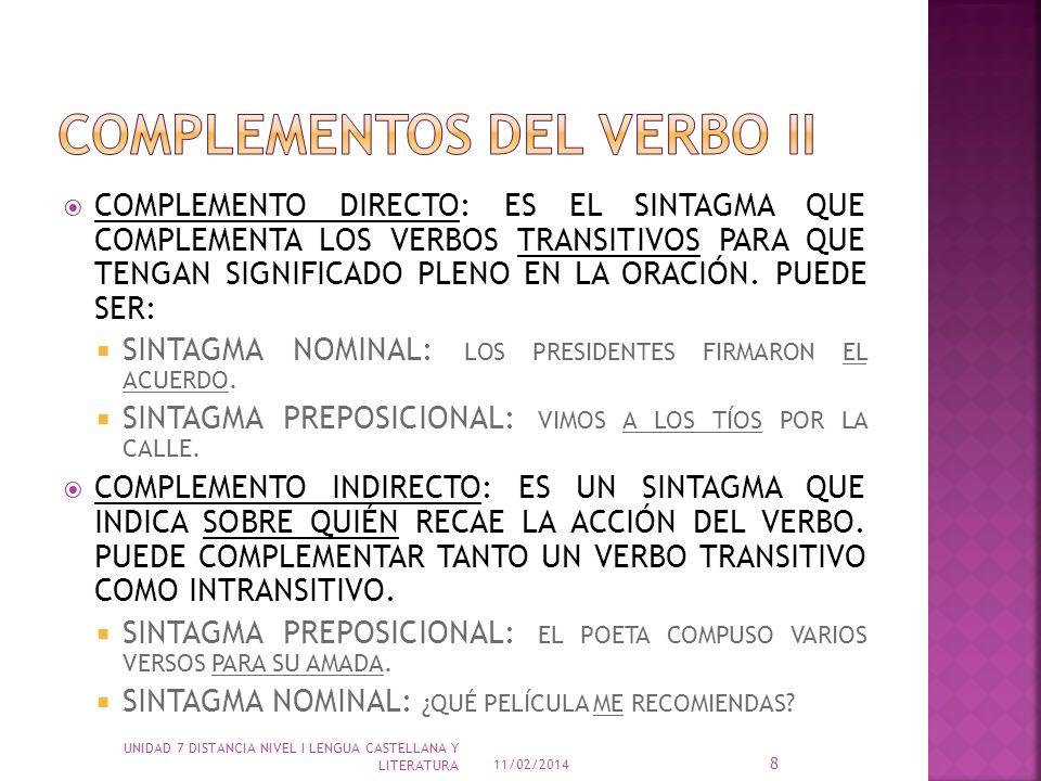 COMPLEMENTOS DEL VERBO ii