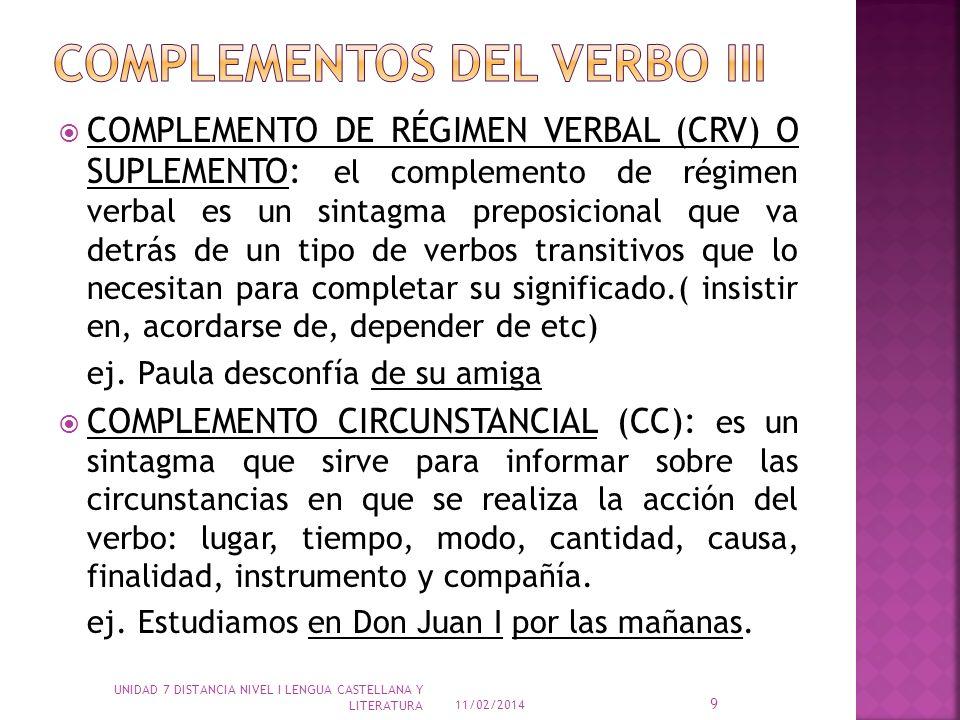 COMPLEMENTOS DEL VERBO iii