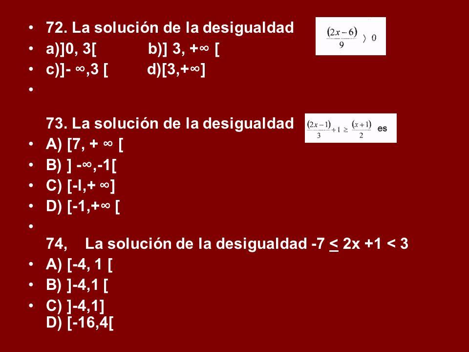 72. La solución de la desigualdad
