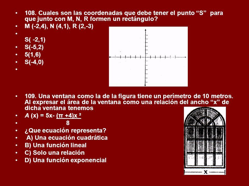 108. Cuales son las coordenadas que debe tener el punto S para que junto con M, N, R formen un rectángulo