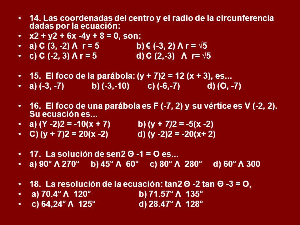 14. Las coordenadas del centro y el radio de la circunferencia dadas por la ecuación: