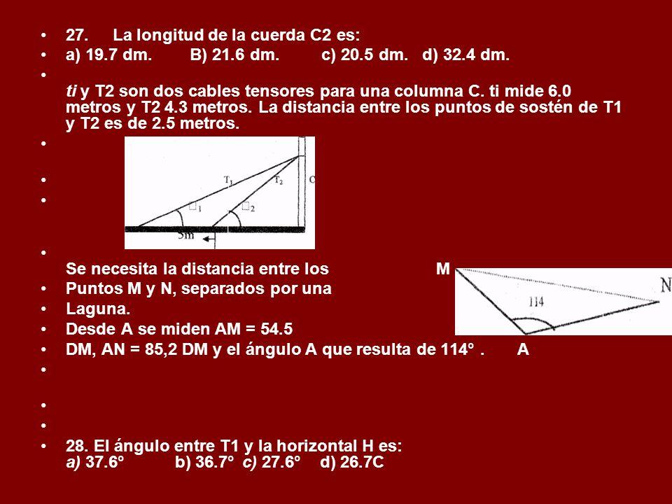 27. La longitud de la cuerda C2 es: