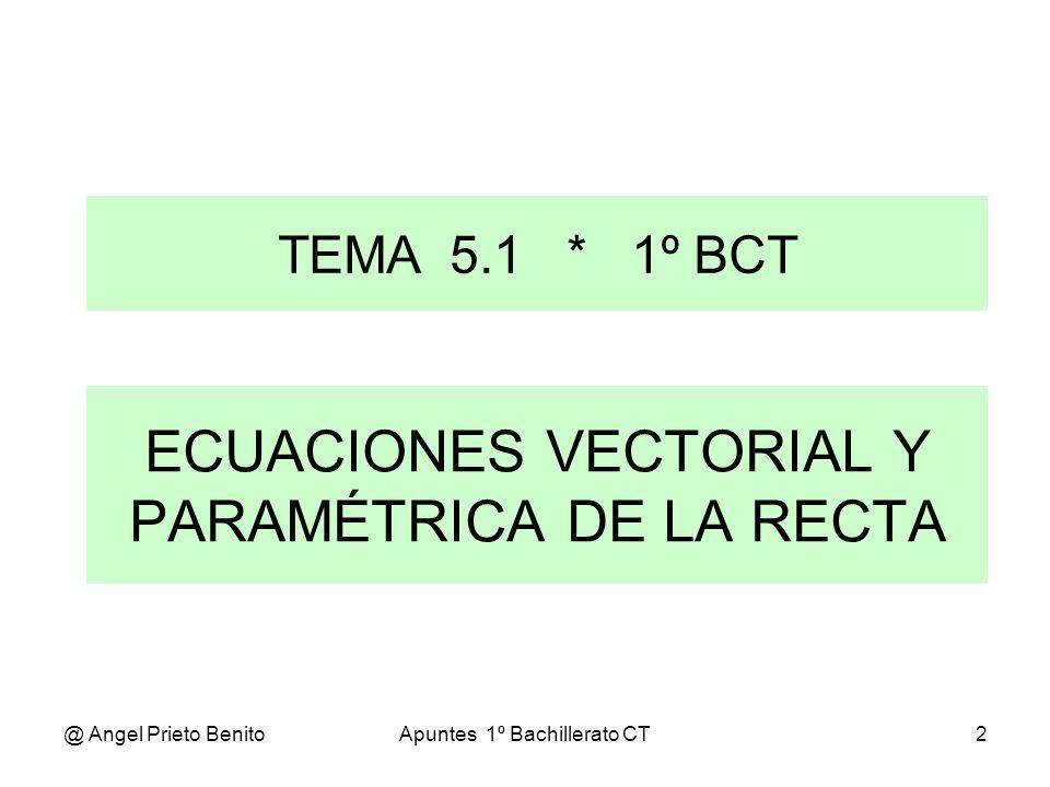 ECUACIONES VECTORIAL Y PARAMÉTRICA DE LA RECTA