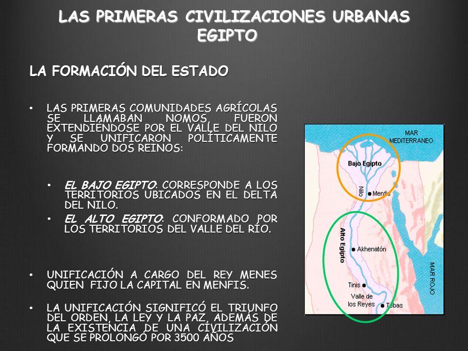 LAS PRIMERAS CIVILIZACIONES URBANAS LA FORMACIÓN DEL ESTADO