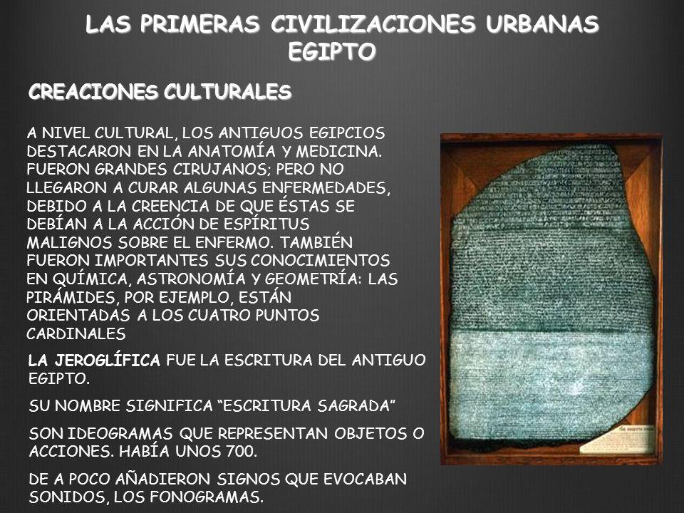 LAS PRIMERAS CIVILIZACIONES URBANAS CREACIONES CULTURALES