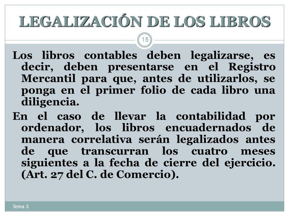 LEGALIZACIÓN DE LOS LIBROS