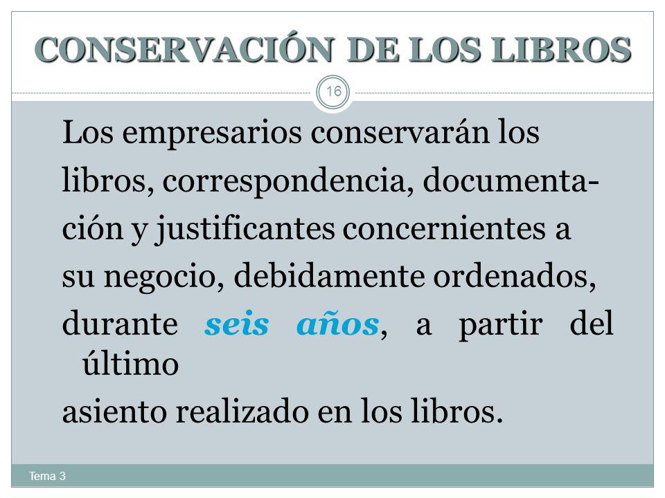 CONSERVACIÓN DE LOS LIBROS
