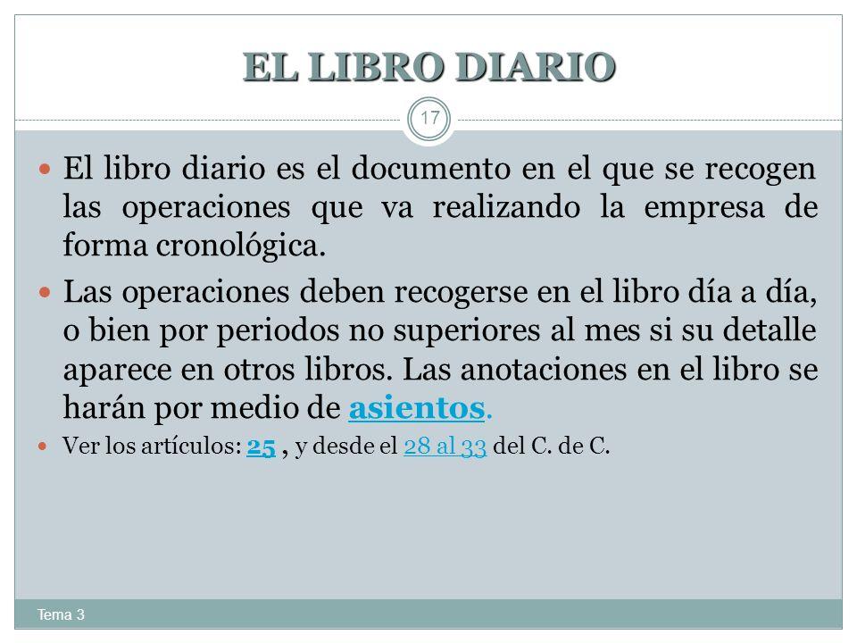 EL LIBRO DIARIO El libro diario es el documento en el que se recogen las operaciones que va realizando la empresa de forma cronológica.