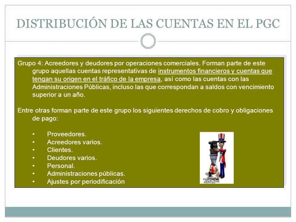 DISTRIBUCIÓN DE LAS CUENTAS EN EL PGC