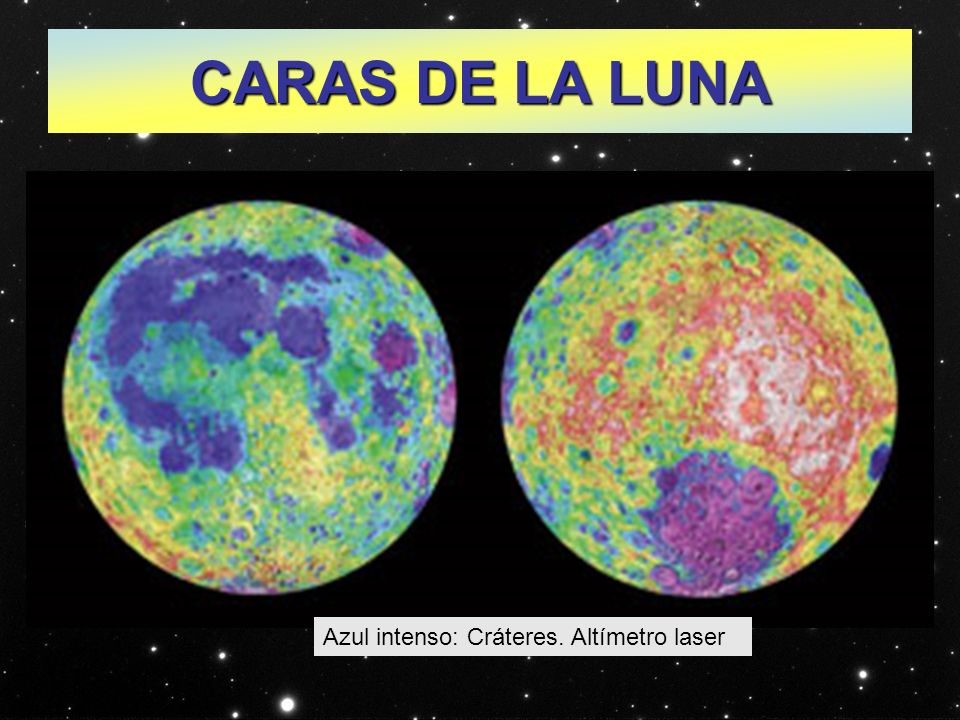 CARAS DE LA LUNA Azul intenso: Cráteres. Altímetro laser