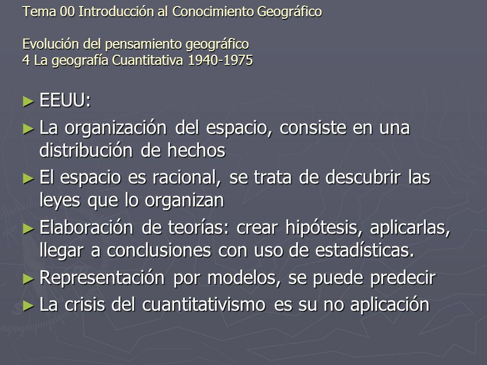 La organización del espacio, consiste en una distribución de hechos