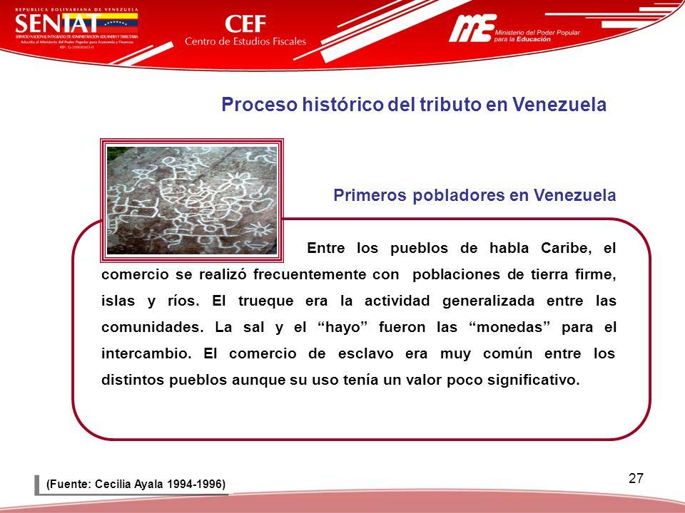 Primeros pobladores en Venezuela (Fuente: Cecilia Ayala 1994-1996)
