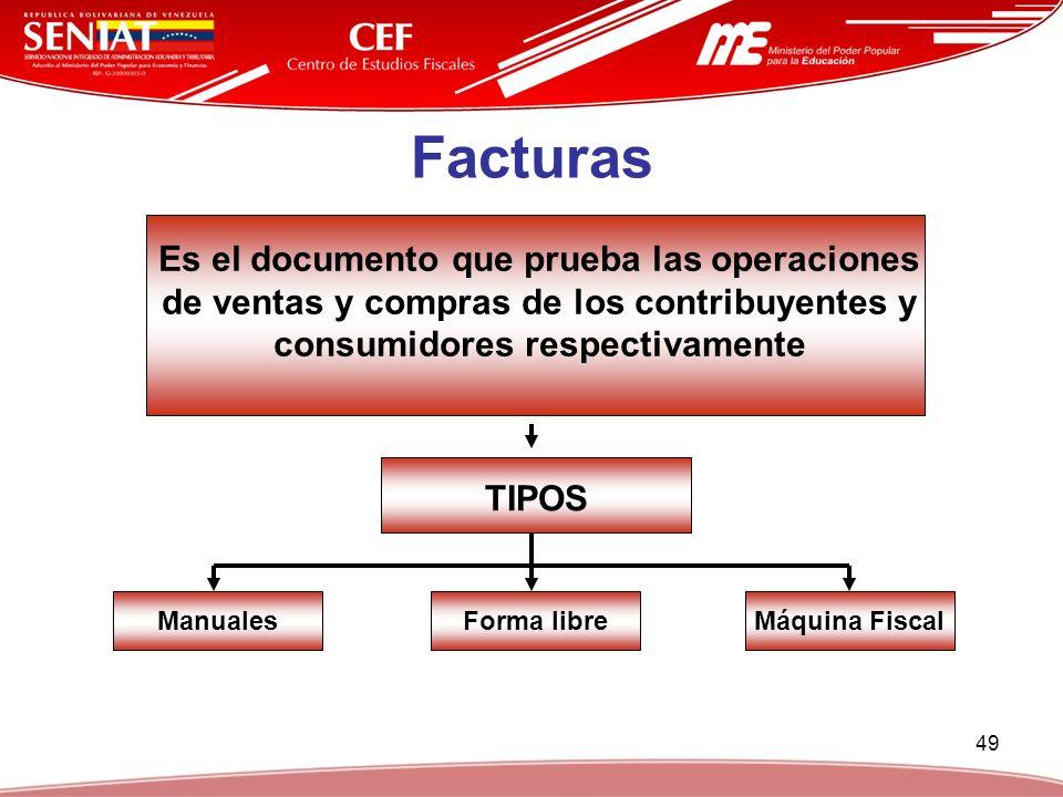 Facturas Es el documento que prueba las operaciones de ventas y compras de los contribuyentes y consumidores respectivamente.