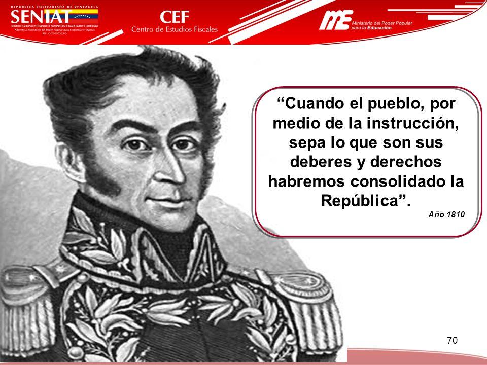 Cuando el pueblo, por medio de la instrucción, sepa lo que son sus deberes y derechos habremos consolidado la República .