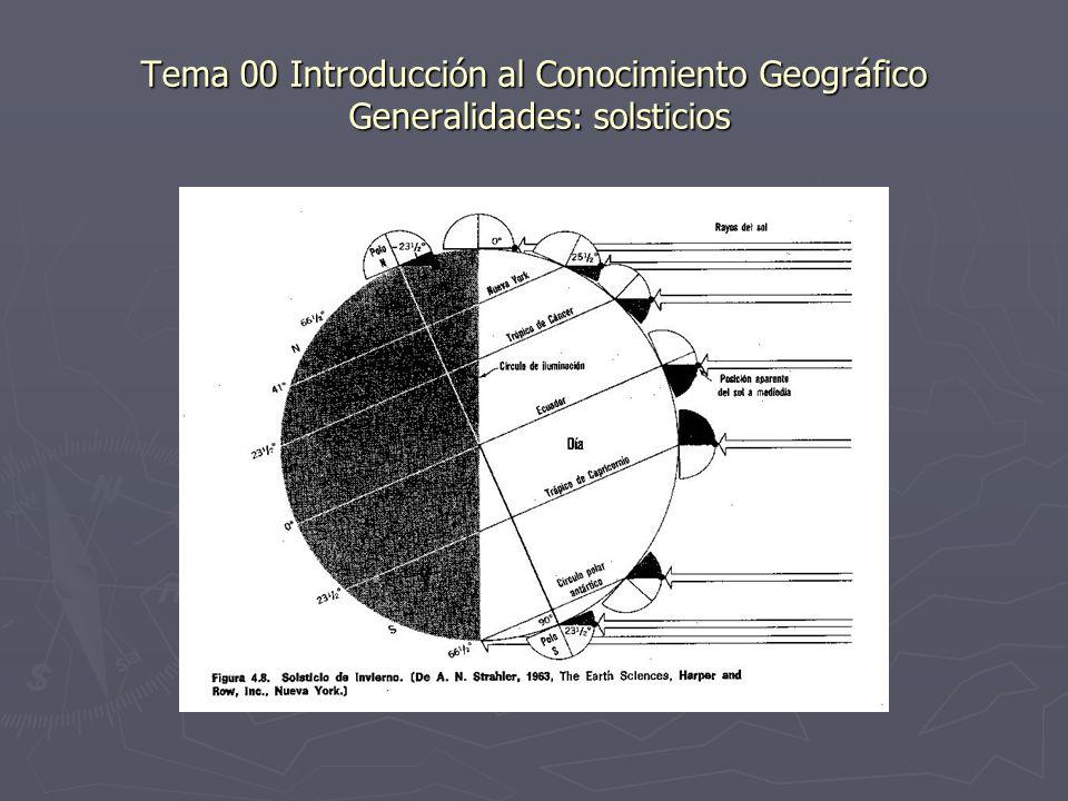 Tema 00 Introducción al Conocimiento Geográfico Generalidades: solsticios