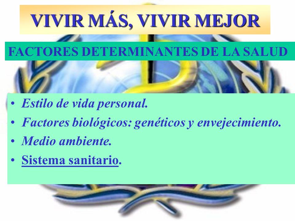 VIVIR MÁS, VIVIR MEJOR FACTORES DETERMINANTES DE LA SALUD