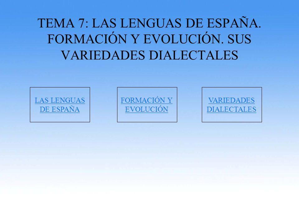 TEMA 7: LAS LENGUAS DE ESPAÑA. FORMACIÓN Y EVOLUCIÓN