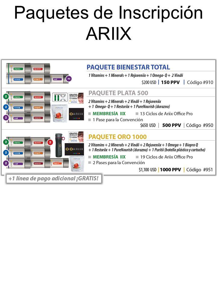 Paquetes de Inscripción ARIIX